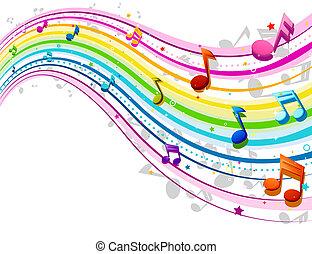 arco íris, música, onda