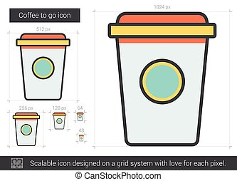 Coffee to go line icon. - Coffee to go vector line icon...