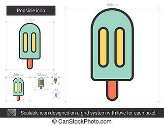 Popsicle line icon. - Popsicle vector line icon isolated on...
