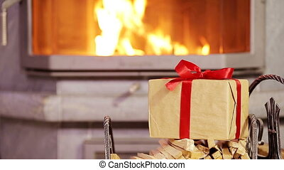 Closeup christmas gift background of fireplace in xmas eve -...