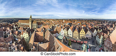 panoramic view of the medieval town of Rothenburg ob der...