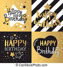 Set of beautiful birthday invitation cards vector.