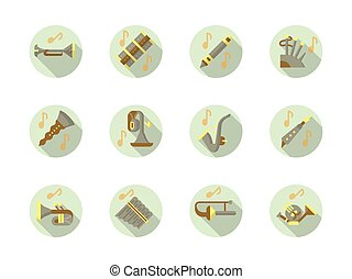 Brass and woodwind tunes round flat vector icons - Brass and...