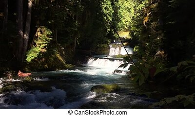 McKensie River down from Sahalie Falls Oregon - This video...