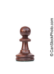 boxwood black pawn chess piece isolated