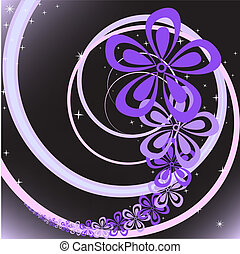 Flower whirlwind - abstract black background with purple...
