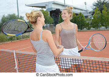 Identical twins shaking hands over tennis net