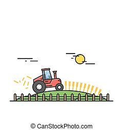 Wheat harvest on the field with the help of heavy machinery or farmer equipment. Red tractor in a flat linear style. Vector, EPS10.