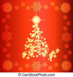 Background in abstract red and white colors with christmas tree. Illustration.