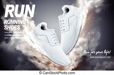 white running shoes ad - white running shoes with special...