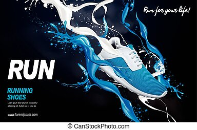 blue running shoes ad - blue running shoes with special...
