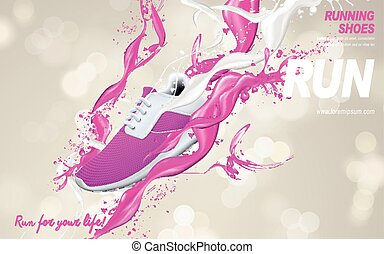 pink running shoes ad - pink running shoes with special...