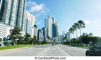 Panama City - Street view of Highrises in the heart of...