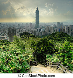 Dramatic cityscape of Taipei with famous landmark 101...