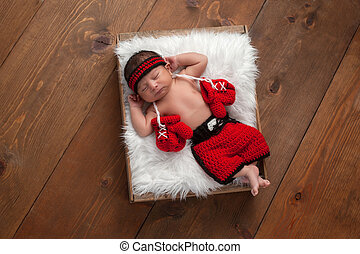 Newborn Baby Boy with Boxing Gloves and Shorts - Eleven day...
