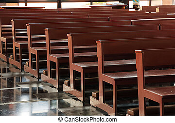Wooden church pews in church