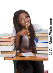 Black college student woman by stack of books - High school...
