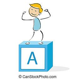 vector illustration of school boy