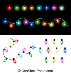 Christmas lights - Garland of colorful glowing Christmas...