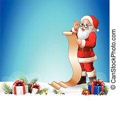 Christmas background with Santa Claus reading a long list of gifts