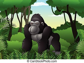 Cartoon gorilla in the thick rain forest - Vector...