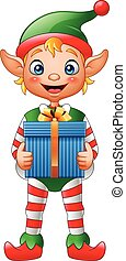 Cartoon Christmas elf holding gift box - Vector illustration...