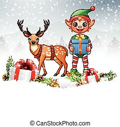Christmas background with elf and deer - Vector illustration...