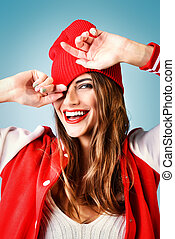 toothy smile - Cool cheerful girl with bright red lips wears...