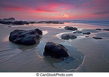 Sonnenuntergang, Pazifik, Landstraße, kueste