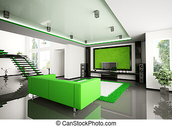 Modern interior of living room 3d - Modern interior of...