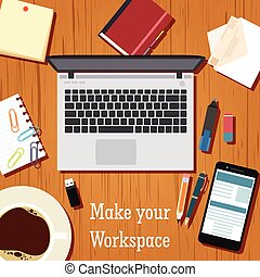 Make your workspace banner - Vector image of the workspace...