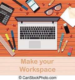 Make your workspace banner3 - Vector image of the workspace...