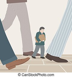 Walking with business giants - Vector illustration of a...