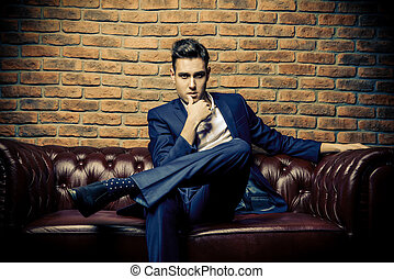 handsome sexy man - Imposing well dressed man in a luxurious...