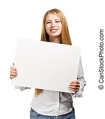 Business woman with card on white background