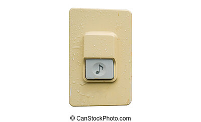 doorbell or buzzer on white wall ,Clipping path. - doorbell...