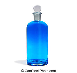 A05 Blue Bottle - Antique pharmacy flask with blue colored...