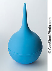 Enema, close up - Blue rubber clyster on white background