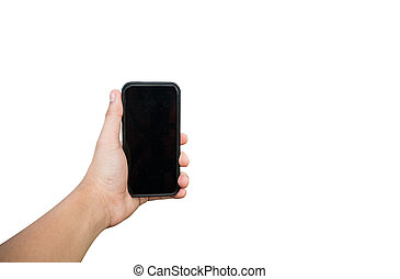 hand with phone on white background