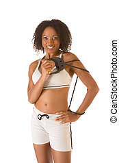 Sporty fitness Ethnic woman with resistant bands