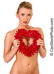 Sexy implied topless woman with feather heart shape -...