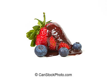 Strawberry with dripped chocolate syrup isolated on a white...