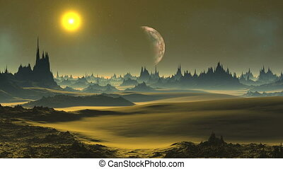 Golden Sunset On An Alien Planet - In the dark starry sky...