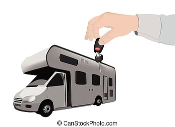 purchase camper give the keys - human hand handing keys...