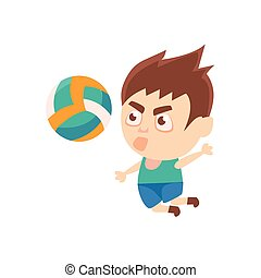 Boy Sportsman Playing Volleyball Part Of Child Sports...