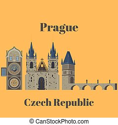 Prague town, Czech Republic. Church of Mother of God before...