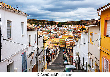 Andalusia, Spain. Streets of small town Alcala la Real -...