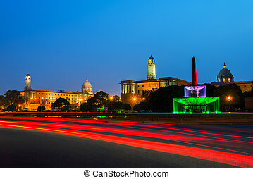 Delhi, India. Illuminated Rashtrapati Bhavan an Parliament...