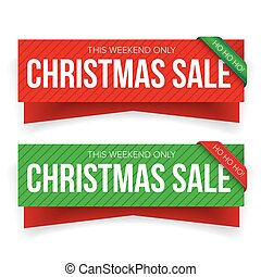 Christmas sale banner vector - red and green