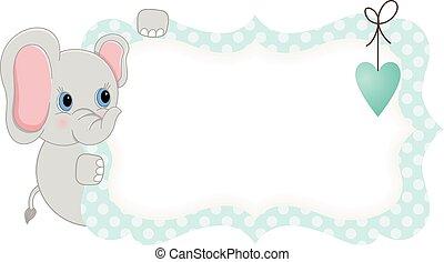 Baby elephant holding blue blank label